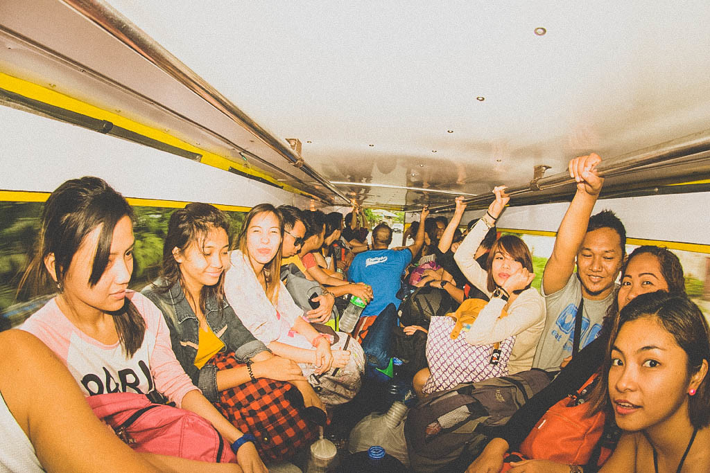 Jam-packed jeepney we rented going to Maya port.