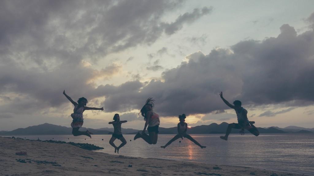 Island, sunset and jumpshot.