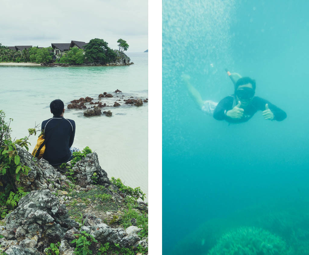 (Left) Best things in life are free. What you're looking at is very expensive. (Right) #snorkelingInCoronIsAwesome