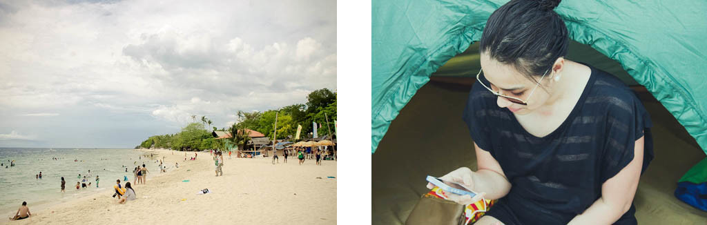 (Left) Moalboal White Sand Beach (Right) Browsing the gallery to look for #moalboal picture.