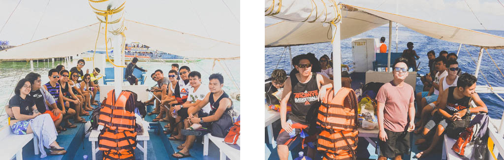 (Left) The gang getting ready for an awesome day. (Right) On our way to Pandanon Island.