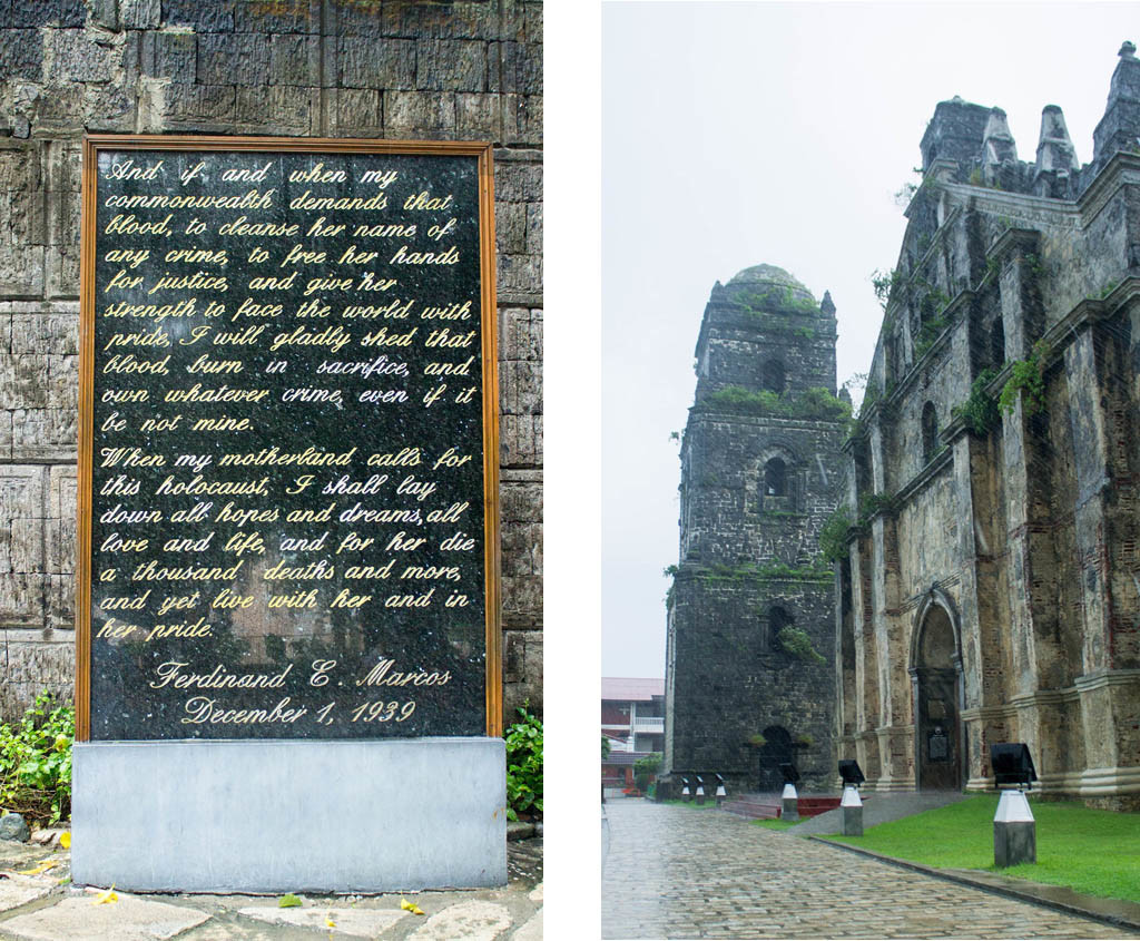 (Left) F. Marcos Presidential Presidential Center (Right) Facade of Saint Augustine Church