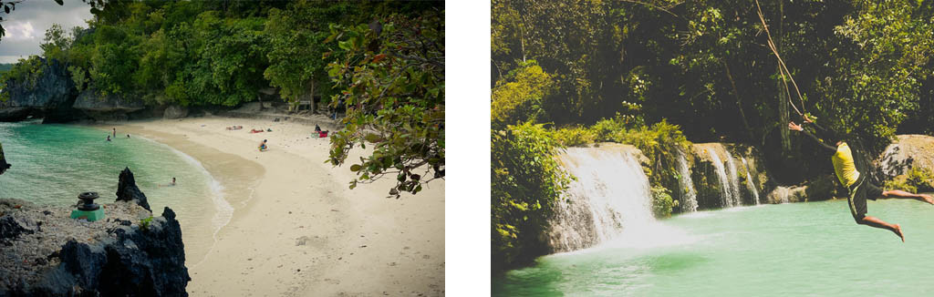 (Left) *Tarzan Yell* – Cambugahay Falls. (Right) Salagdoong Beach Resort