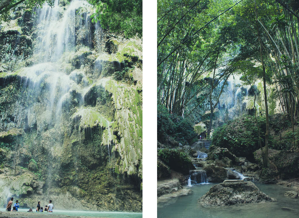 (Left) Tourists dipping. (Right) Tumalog Falls from afar.