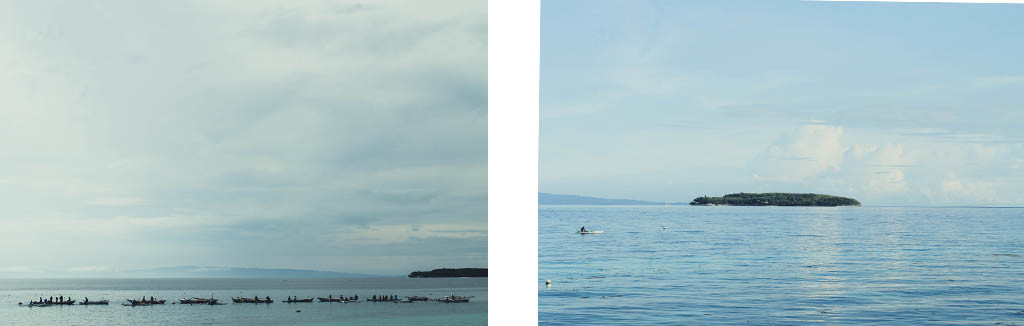 (Left) Boats lining up to take a dive checking the whale sharks. (Right) Sumilon Island.