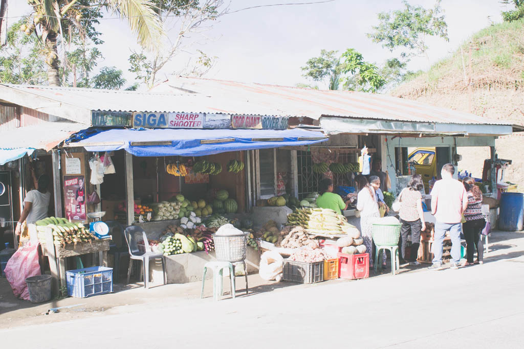 Fresh fruits and vegetables sold at a very cheap price.