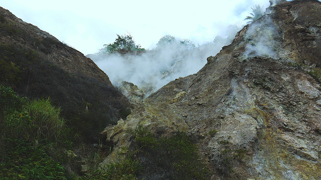 Steaming sour sulfur odor as you reach Malabo Falls