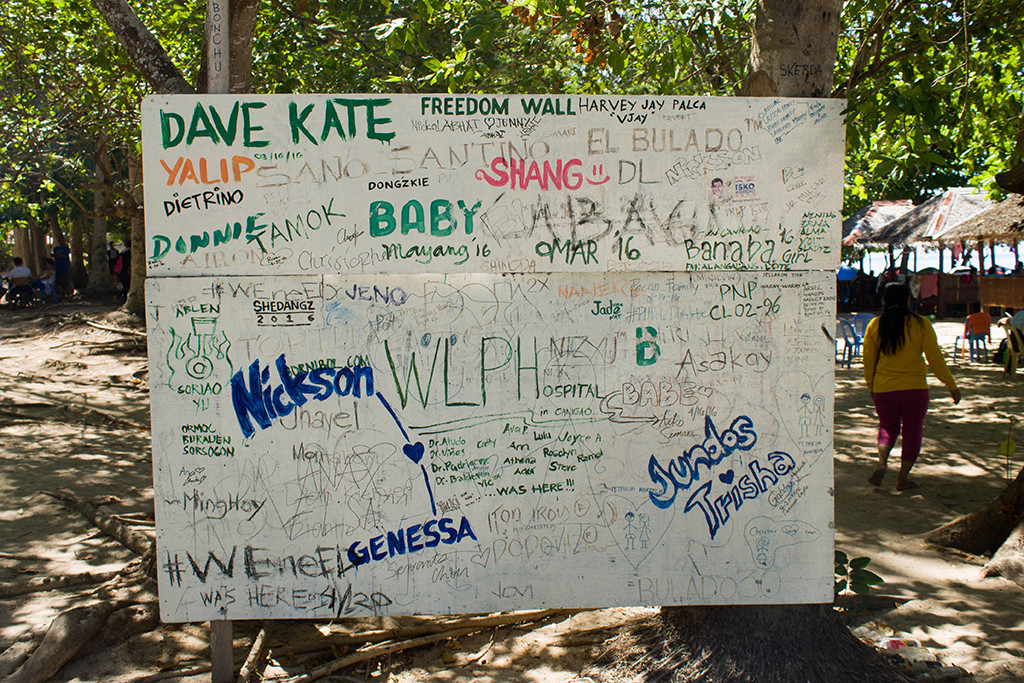 Freedom wall is provided for all the vandalism fanatics visiting the island instead of vandalizing anywhere.
