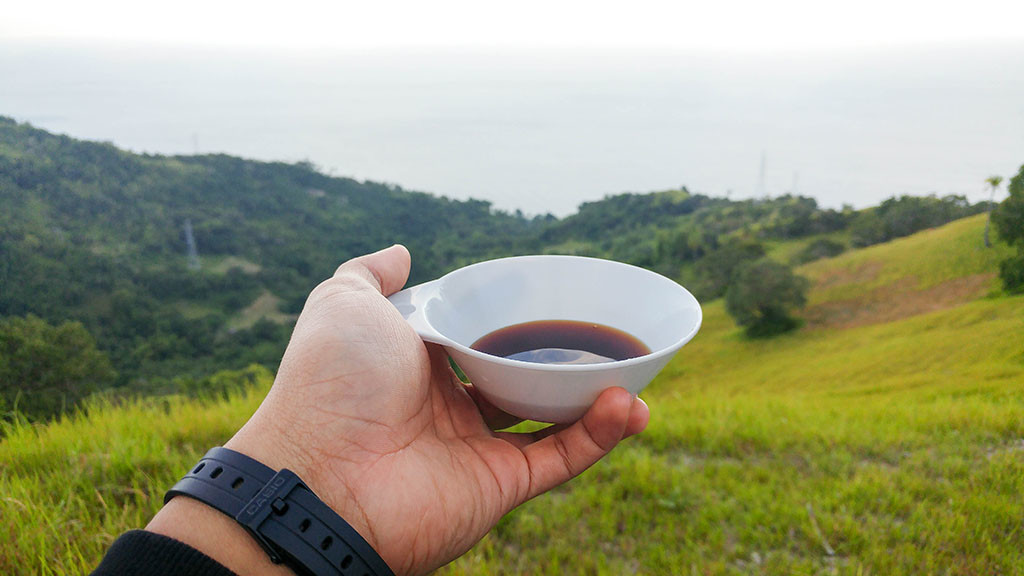 It may looked like soy sauce but it's coffee, trust me. :P It's not the cup; it's the view.