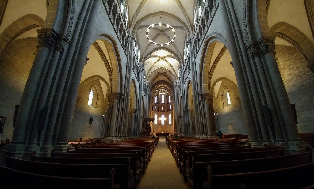 Inside St. Pierre (Peter) Cathedral which was turned into a Protestant church