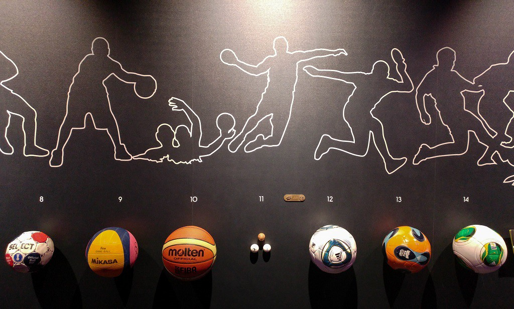 Display of different ball games