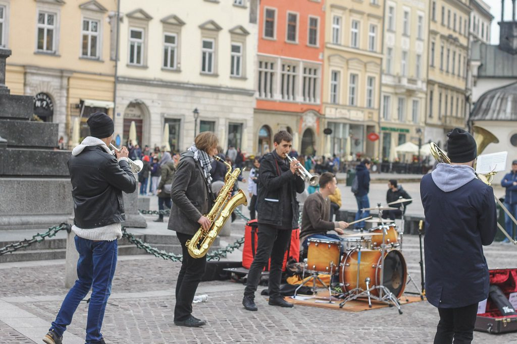 Some dudes performing at the main square.
