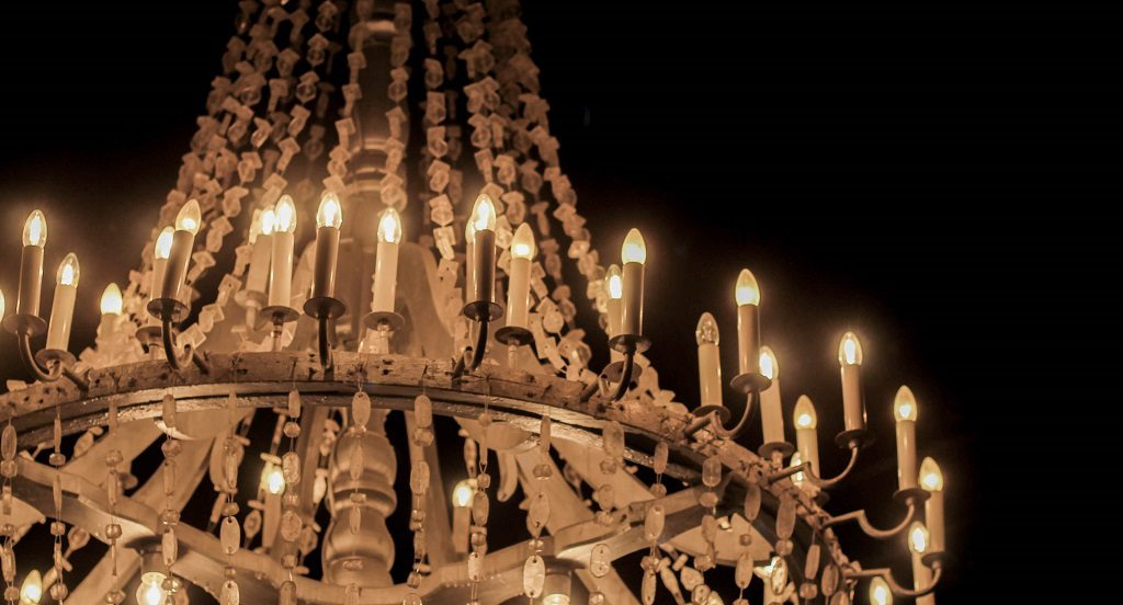 A chandelier which is made of salt (mostly)