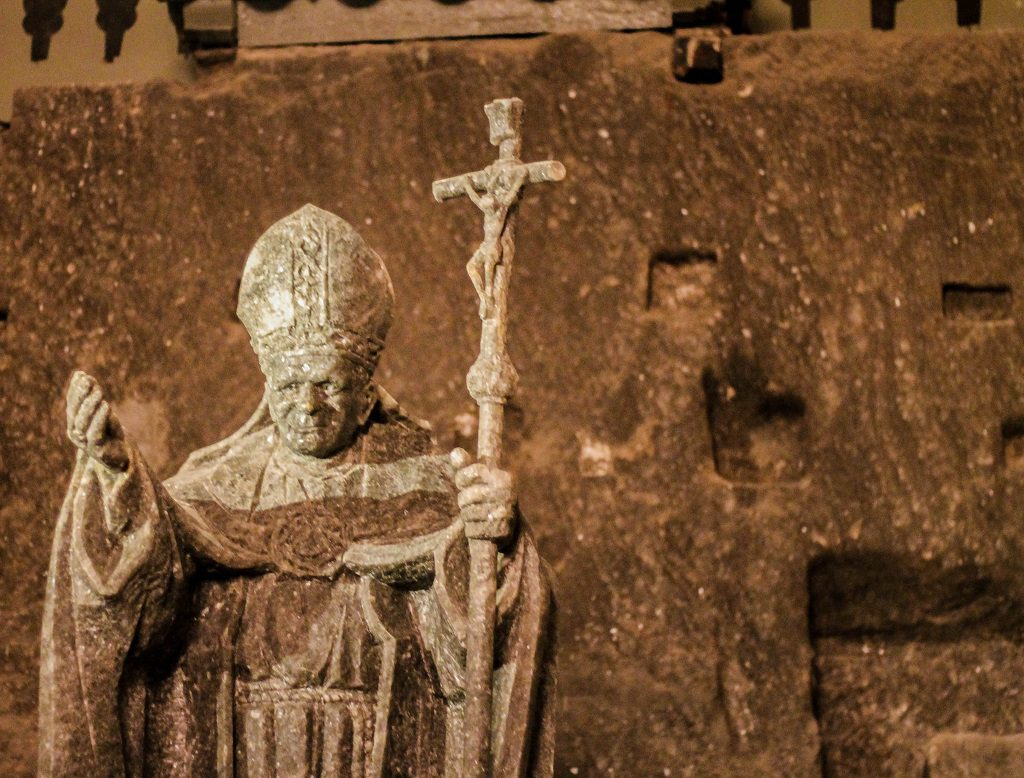 A statue of Pope John Paul II. Of course, made of salt.
