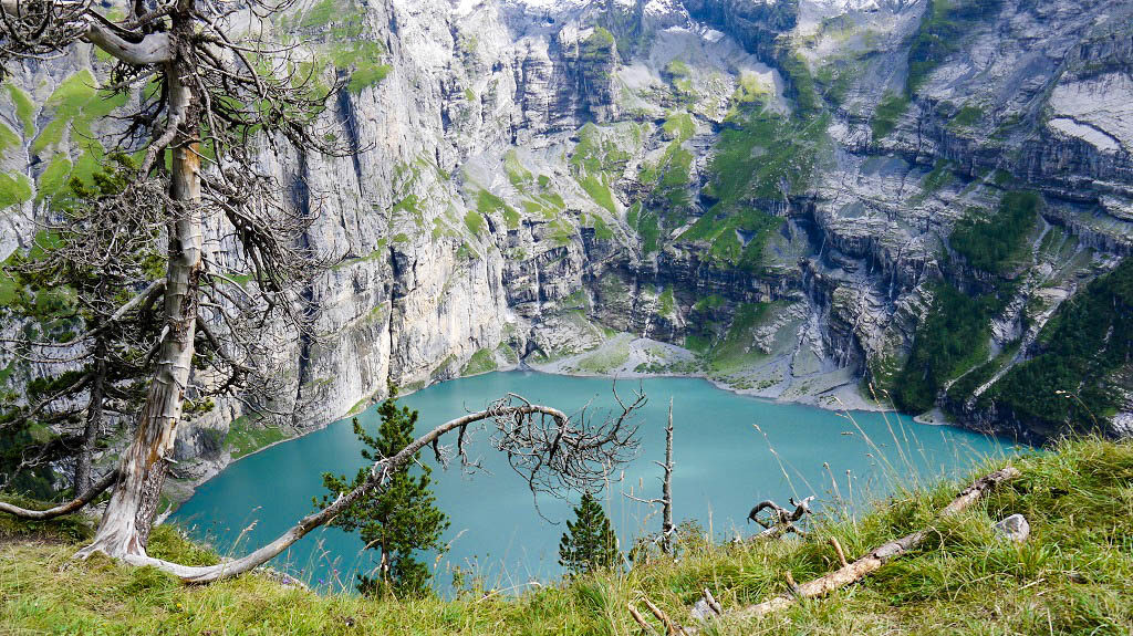 Oeschinen Lake viewed from the top.