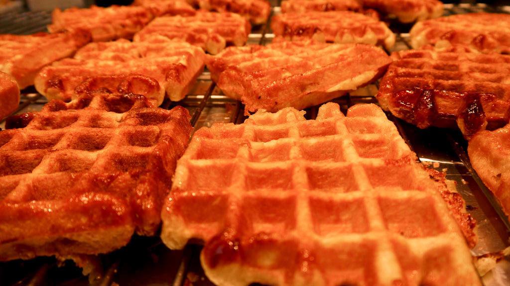 Freshly cooked 1 euro belgian waffle