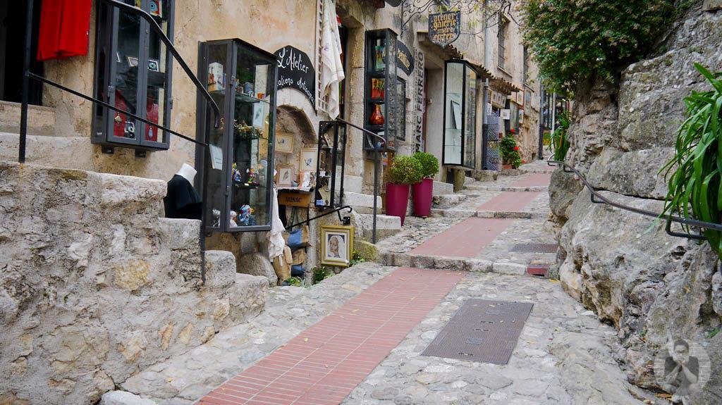 Souvenir shops along the narrow alley of Eze village
