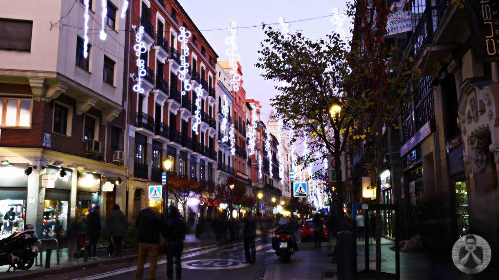 Christmas lights along Calle de Alcala